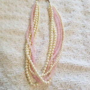 Talbots 5 strand pearl and pink quartz necklace